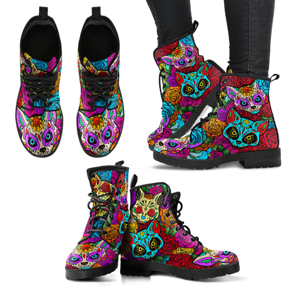 Purple Sugar-Skulls Cat Women's Leather Boots