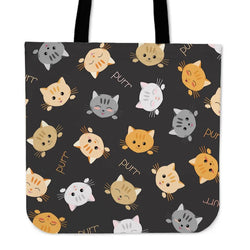 Grey Background Cat Faces Cloth Tote Bag