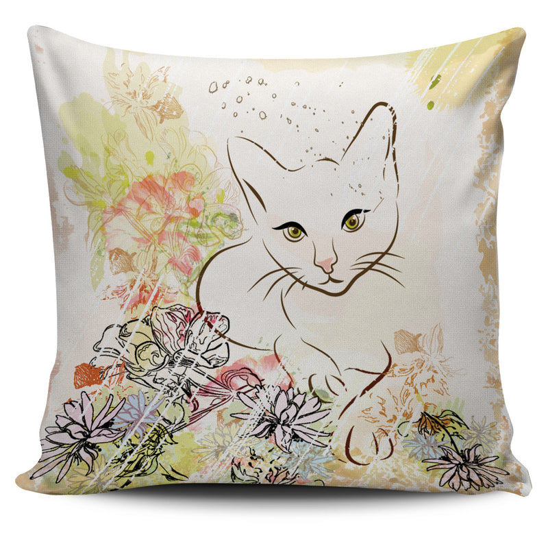 Cat with Flower Pillow Case