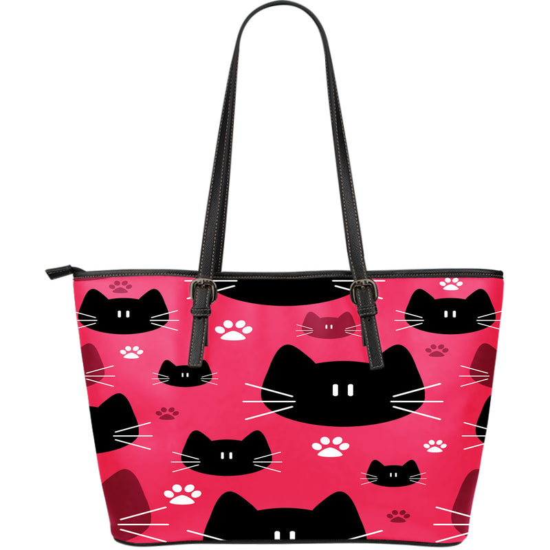 Seamless Cat Leather Tote Bag