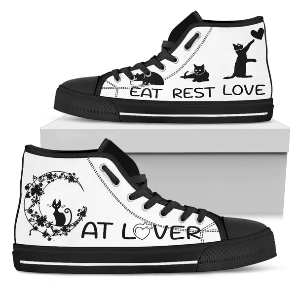 Cat Lover black sole Women's High Top Shoe