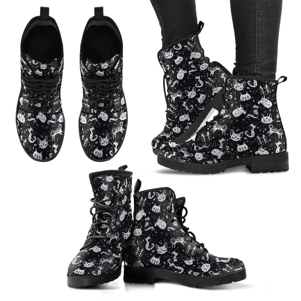 Black Cat-Pattern Women's Leather Boots