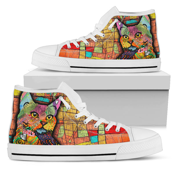 White Orange Cat Women's High Top Shoe
