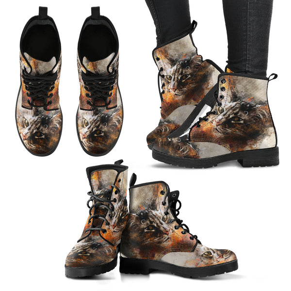 Stylish Cat Handcrafted Leather Boots