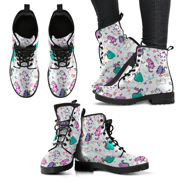 Cute Cat Boots Women's Leather Boots