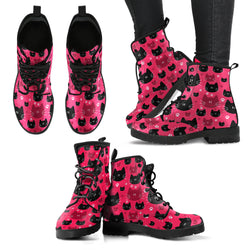 Black & Red Cat Faces Women's Leather Boots