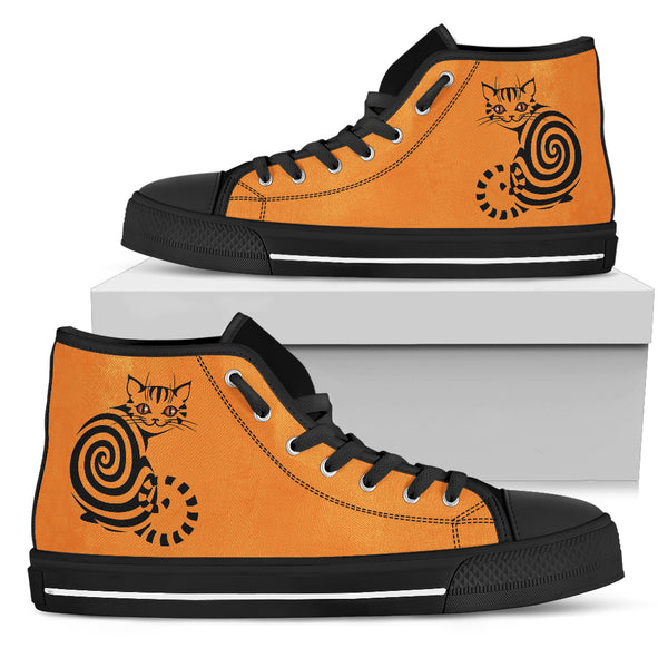 Spiral Cat Orange Women's High Top Shoe
