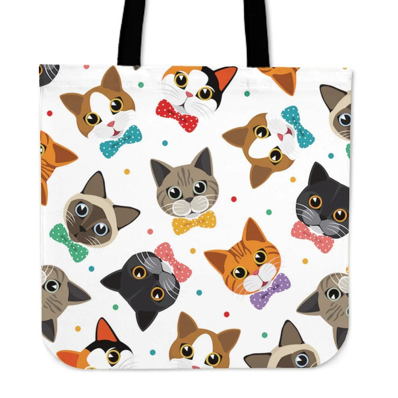 Colored Faces Cat Cloth Tote Bag