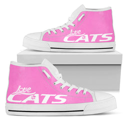 Pink Love cats Women's High Top Shoe