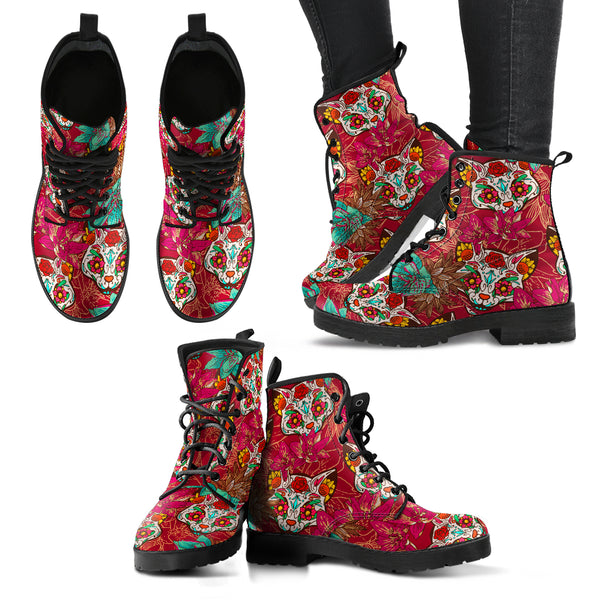 Red Sugar-Skulls Cat-Women's Leather Boots