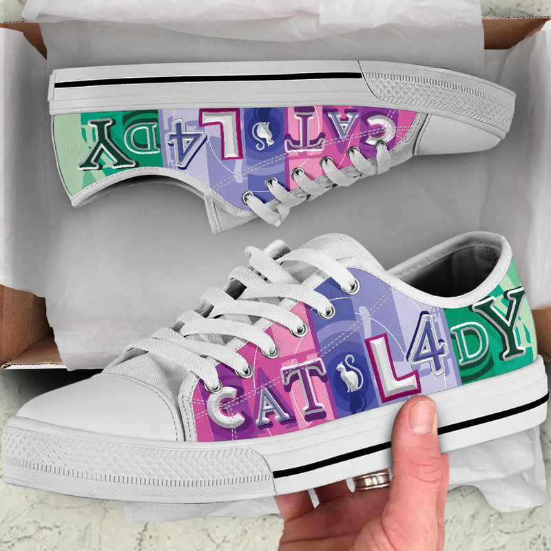 Colorful Cat Lady Low Top Cat Shoe image 2
