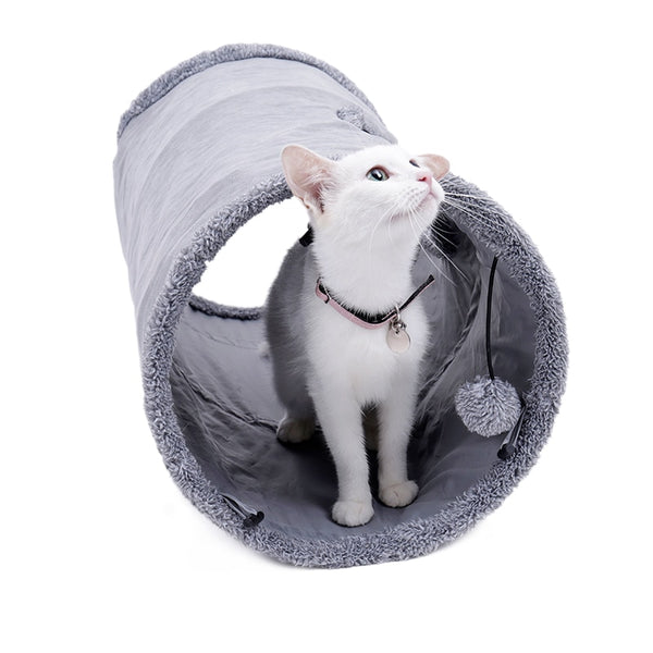 2 Large Holes Cat Tunnel Toys - White Cat