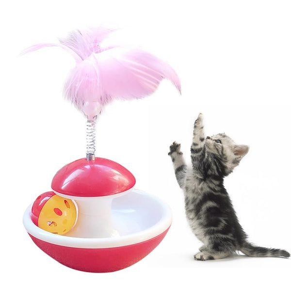 Tumbler Ball Feather Toy for Kitten - With Cat