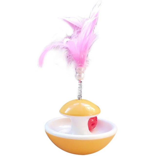 Tumbler Ball Feather Toy for Kitten - Yellow Color Cat