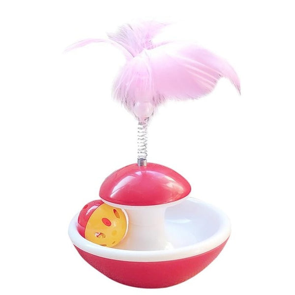 Tumbler Ball Feather Toy for Kitten - Red Color Cat