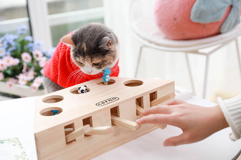 Interactive Wood Cat Toy - White Cat 2