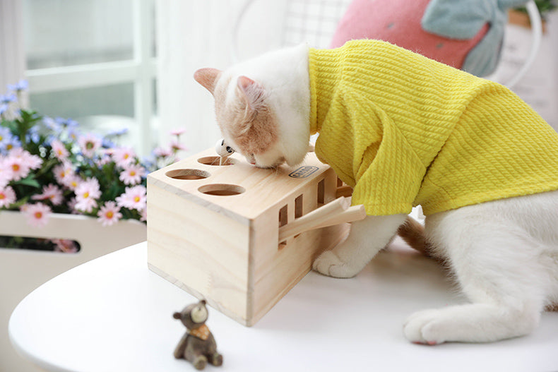 Interactive Wood Cat Toy - White Cat 1