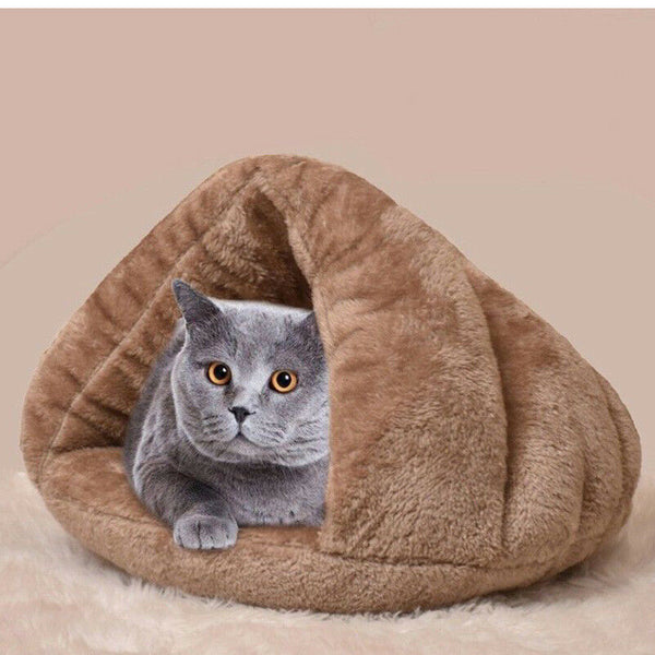 Comfortable Cave Bed for Cat - Brown Colour with cat