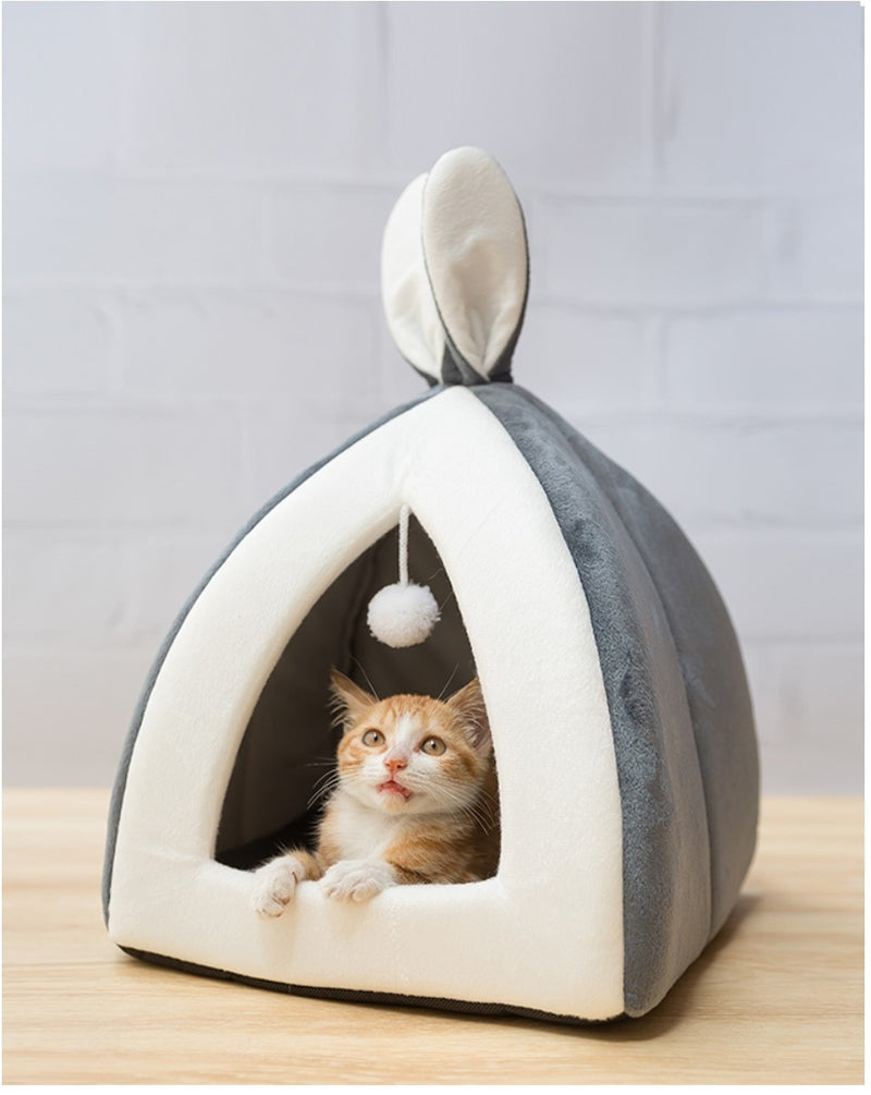 Cute Cave Sleeping Mats - Light Gray with Cat 1