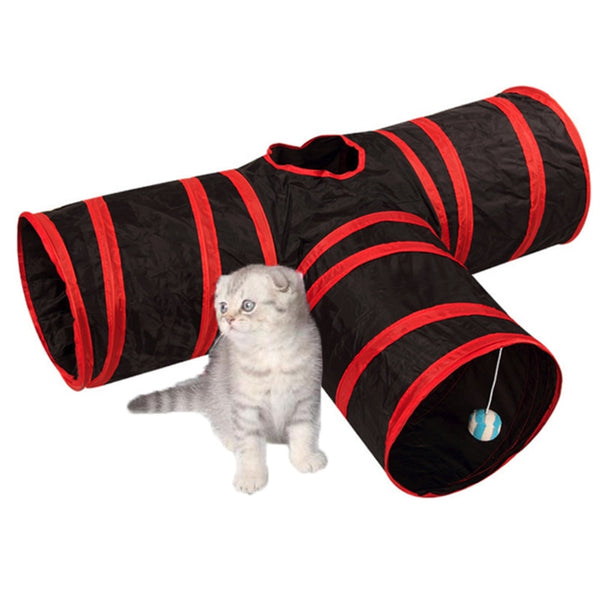 3 Holes Cat Tunnel Toys - With Cat