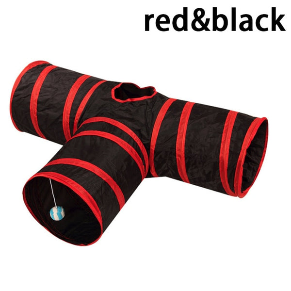 3 Holes Cat Tunnel Toys - Red and Black Colour