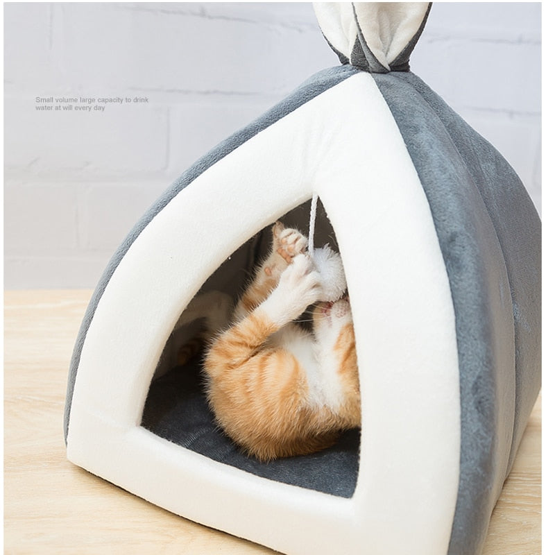 Cute Cave Sleeping Mats - Light Gray with Cat 2