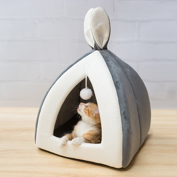 Cute Cave Sleeping Mats - Light Gray with Cat