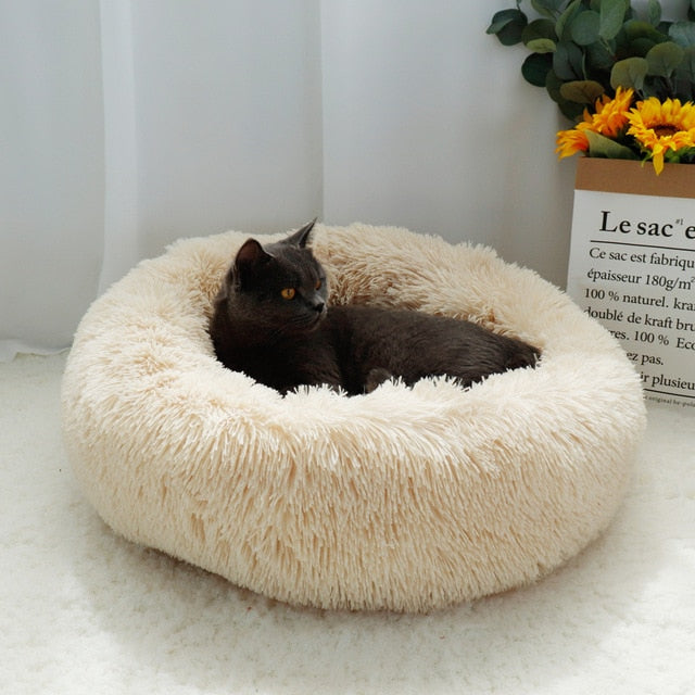 High Quality Round Cat Bed - Light Coffee Colour