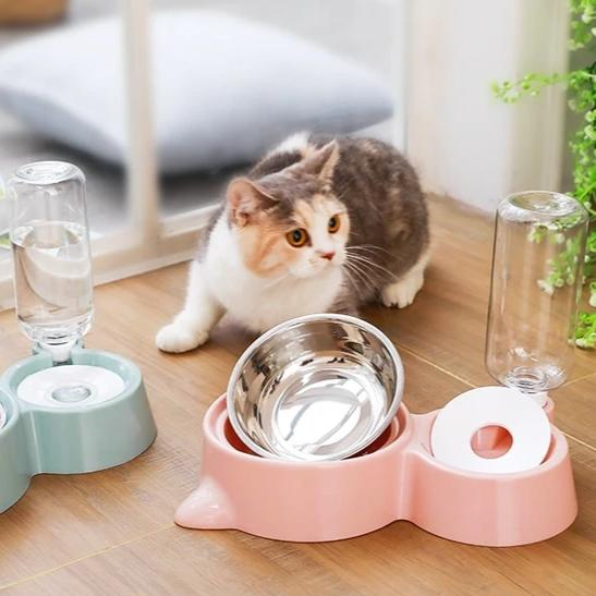 Food Feeder with Automatic Waterer Bottle - With Cat