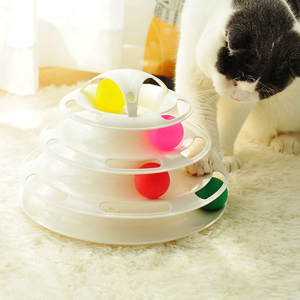 Triple Disk Cat Toy - White Color With Cat