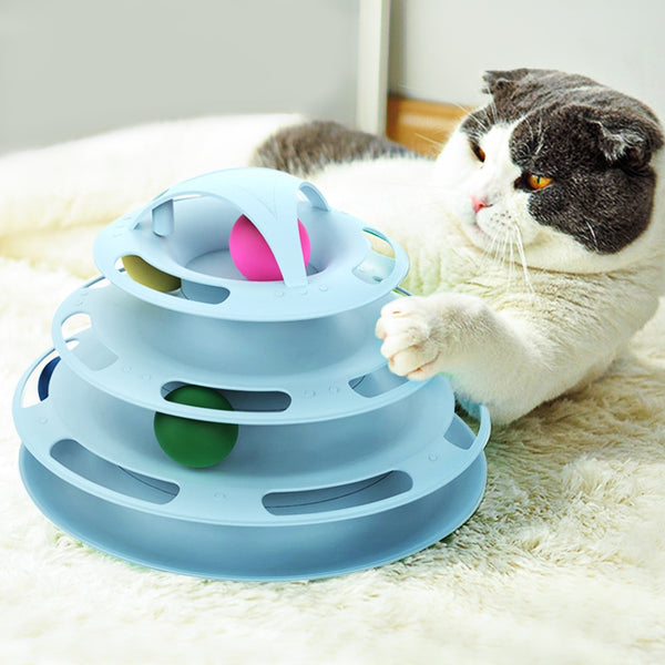 Triple Disk Cat Toy - Blue With Cat