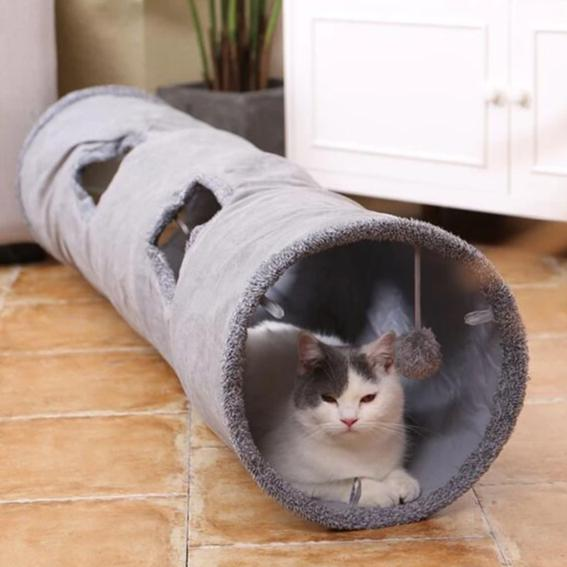 2 Large Holes Cat Tunnel Toys - With Cat