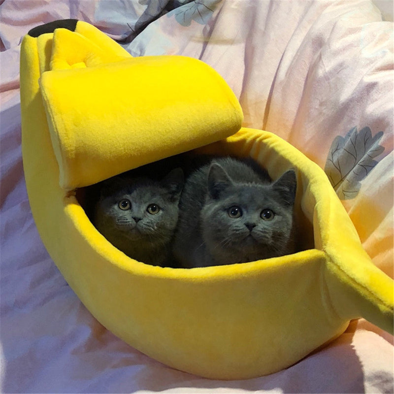 Banana Shape Cat Bed - Two Black Cat