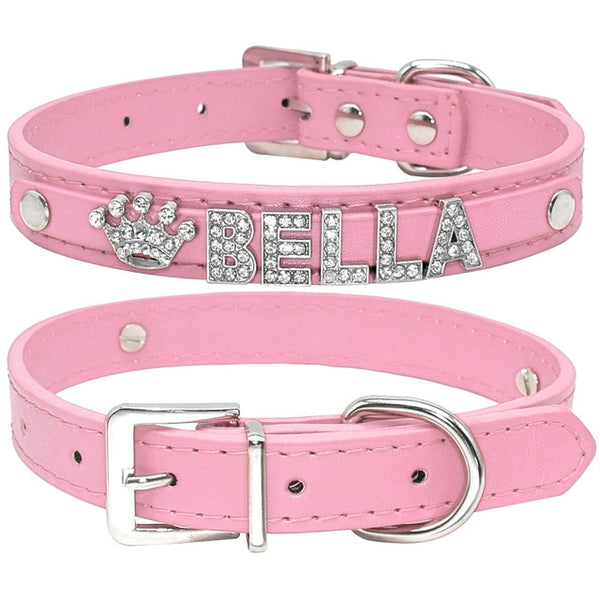 Adorable Personalized Rhinestone Cat Collar - Plain Pink Colour