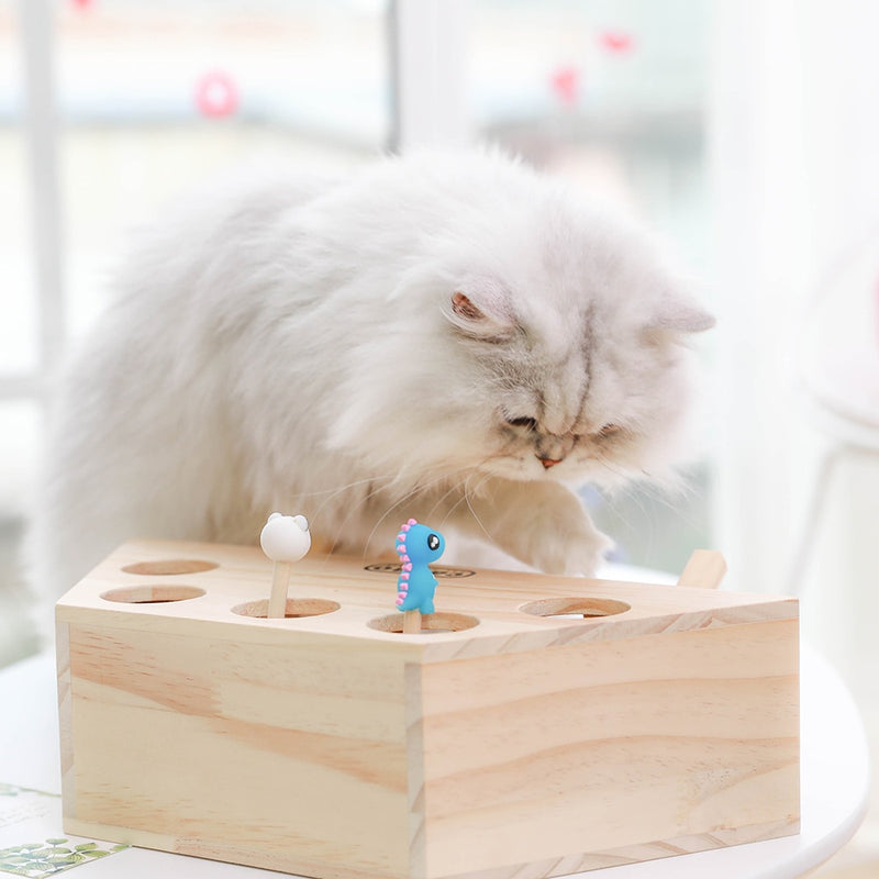 Interactive Wood Cat Toy - White Cat