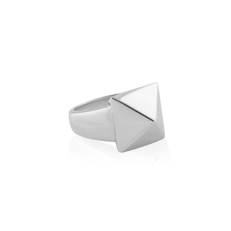 PYRAMID ONE STUD RING SILVER