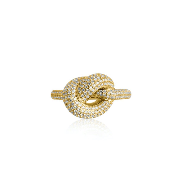 KNOT RING GIANT PAVÉ GULD
