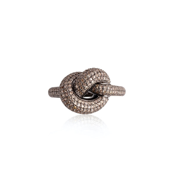 GIANT KNOT PAVE RING BROWN