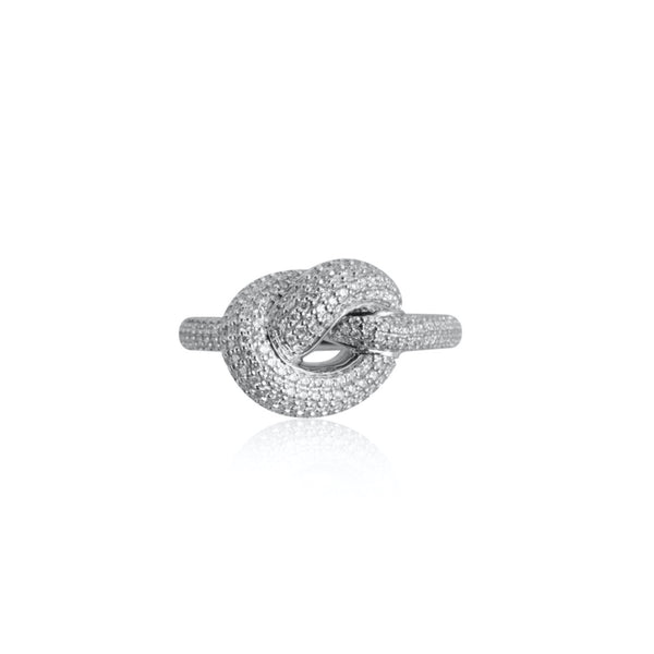 GIANT PAVE KNOT RING WHITE