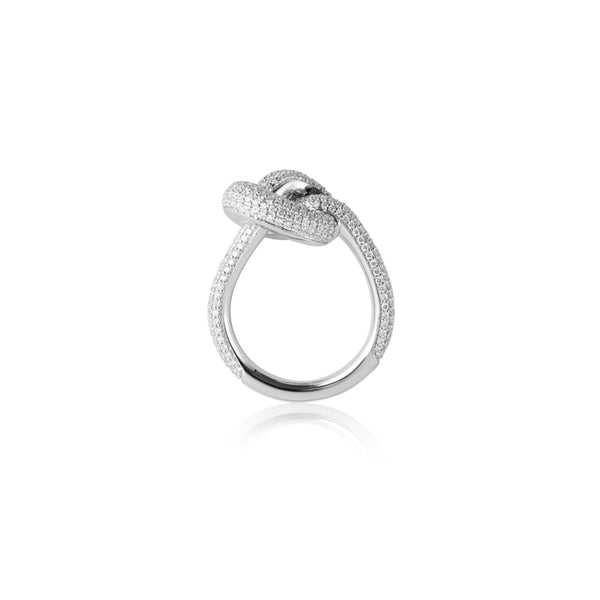 THE KNOT 18 K VITGULD GIANT RING DIAMANTER