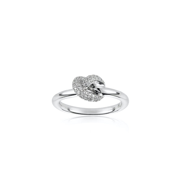 THE KNOT RING 18K VITGULD DIAMANTER