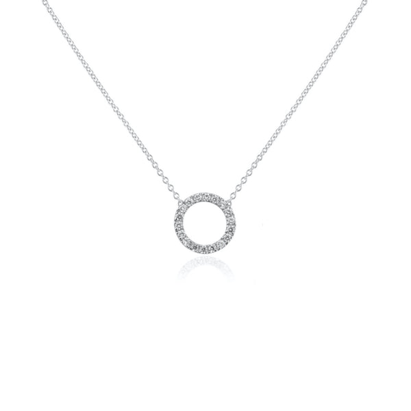 CIRCLE MINI DIAMANT HALSBAND VITGULD