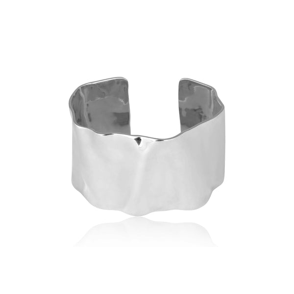 HAMMERED CUFF ARMBAND SILVER