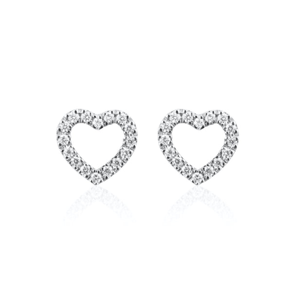 DIAMANT STUDS MINI HEART 18K VITGULD