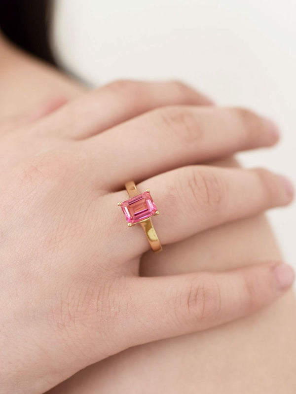 Gold plated silver w pink topaz