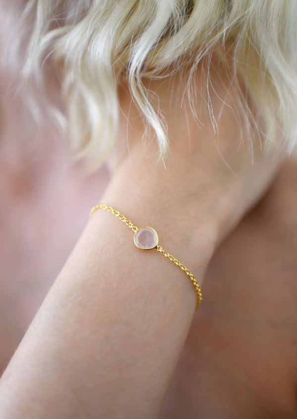 Gold plated silver w rose quartz