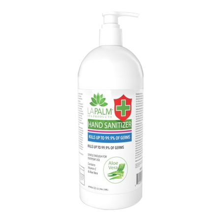 LP602 - LA PALM HAND SANITIZER 32oz (Kills Up To 99.9% of Germs in 15 Seconds) MADE IN USA (NO RETURN, NO EXCHANGE DISINFECTING PRODUCTS)
