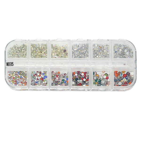 NO05 - CRYSTAL RHINE STONE NAIL ART BOX