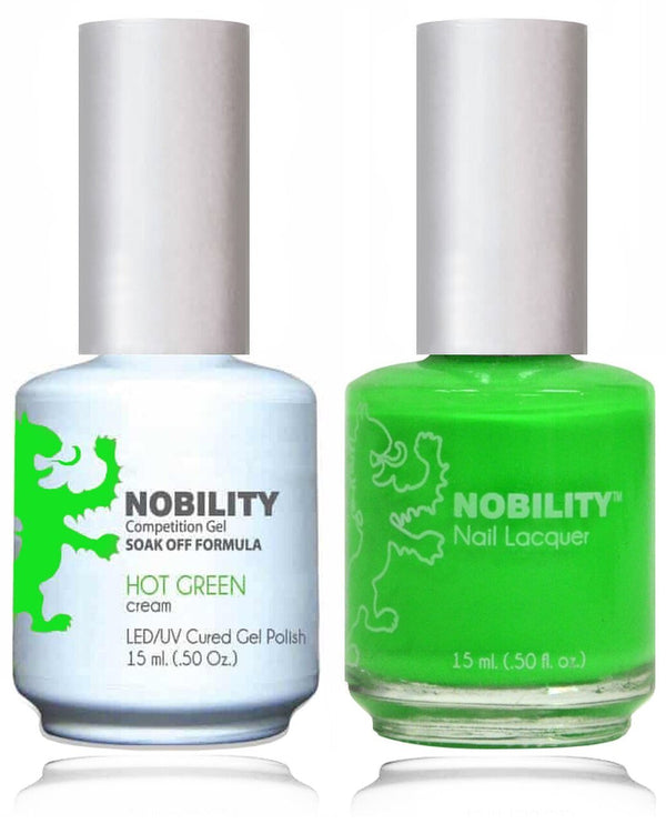 NBCS056 - NOBILITY GEL POLISH & NAIL LACQUER - HOT GREEN 0.5oz
