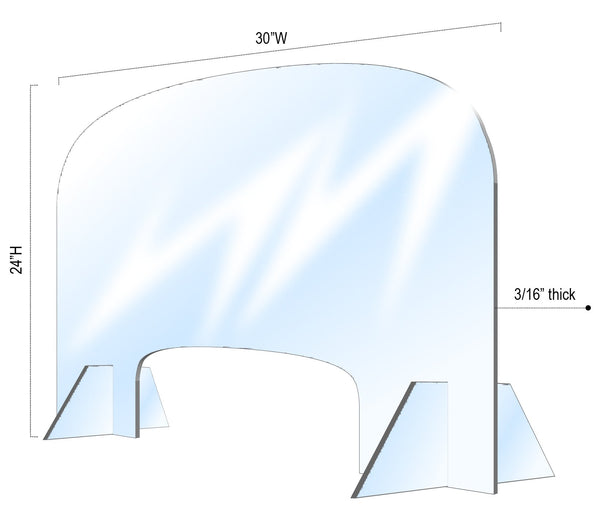 "2588 - (WALK IN) TABLE SHIELD 30""W x 24""H (3/16"" CLEAR ACRYLIC) (NO RETURN, NO EXCHANGE DISINFECTING PRODUCTS)"